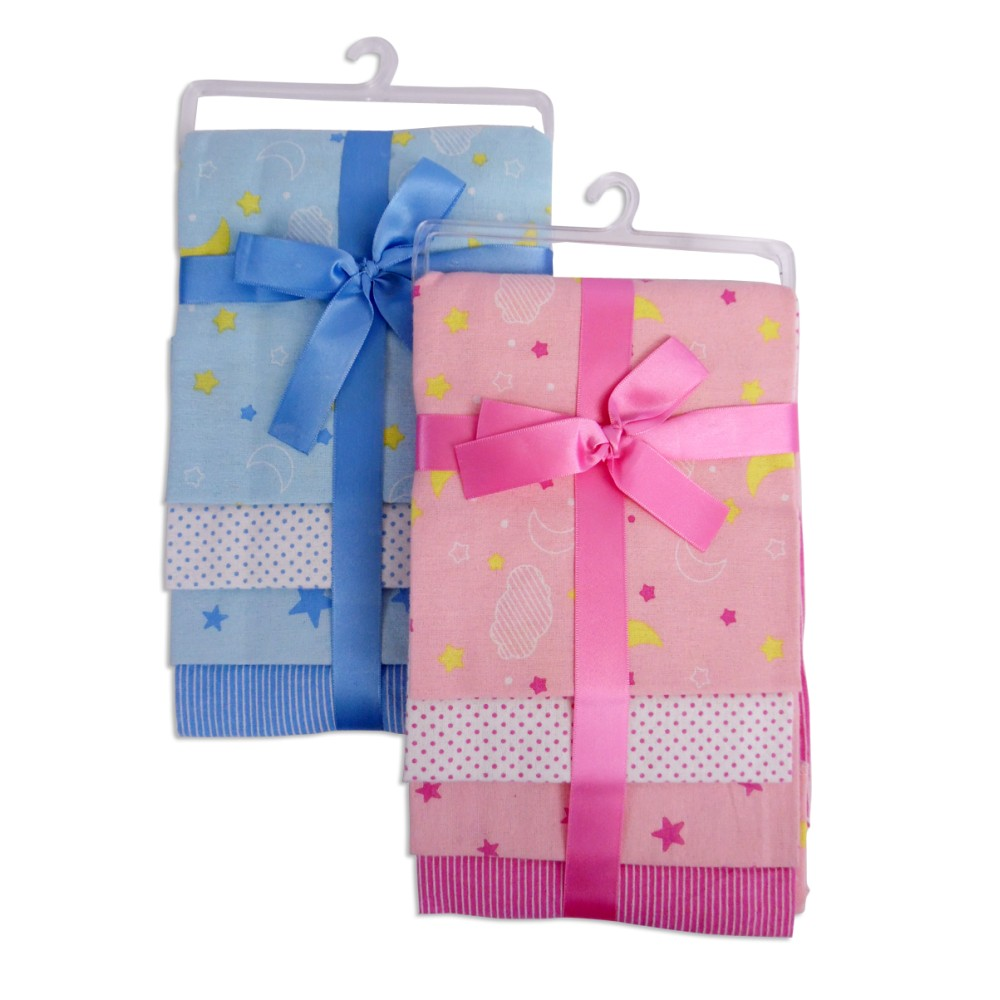 Flannel Print Receiving Blanket 4-Pack